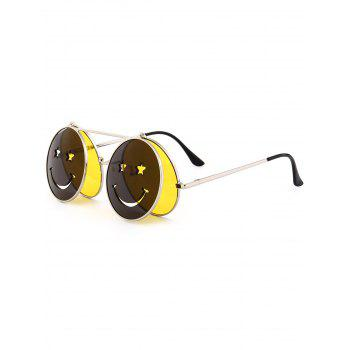 Cute Smiling Face Embellished Flip-open Circle Shaped Sunglasses - YELLOW YELLOW