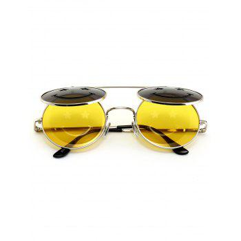 Cute Smiling Face Embellished Flip-open Circle Shaped Sunglasses -  YELLOW