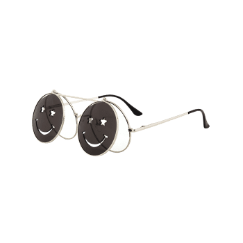 Cute Smiling Face Embellished Flip-open Circle Shaped Sunglasses - WHITE