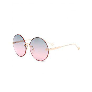 UV Protection Arrow Decorated  Rimless Round Sunglasses - BLUE AND PINK BLUE/PINK