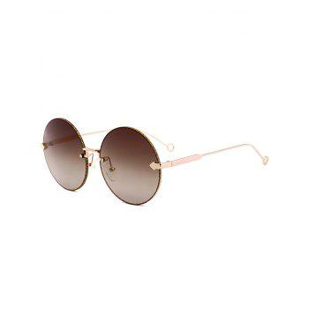 UV Protection Arrow Decorated  Rimless Round Sunglasses - TEA-COLORED TEA COLORED