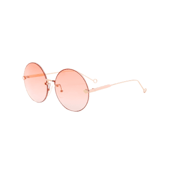 UV Protection Arrow Decorated  Rimless Round Sunglasses - ORANGEPINK