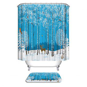 Christmas Forest Animals Print Waterproof Fabric Shower Curtain - COLORMIX W59 INCH * L71 INCH