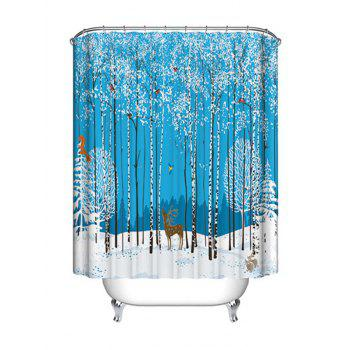 Christmas Forest Animals Print Waterproof Fabric Shower Curtain - COLORMIX COLORMIX
