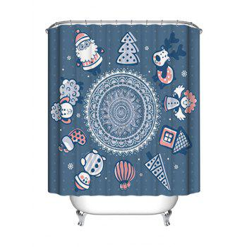 Christmas Cartoon Mandala Print Waterproof Fabric Shower Curtain - STONE BLUE STONE BLUE