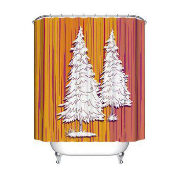 Christmas Pine Trees Print Waterproof Fabric Shower Curtain - COLORMIX COLORMIX
