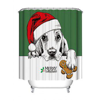 Christmas Dog Biscuit Print Waterproof Fabric Shower Curtain - COLORMIX COLORMIX