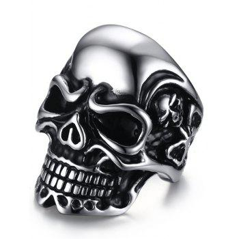 Stainless Steel Cool Skull Ring - SILVER SILVER