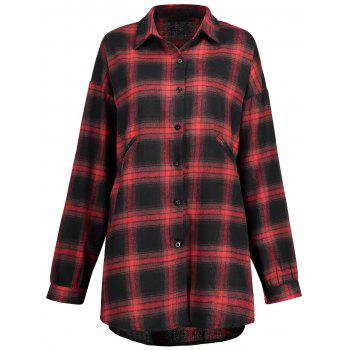 Plus Size Button Up Check Shirt - CHECKED CHECKED