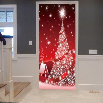 Sparkling Christmas Tree Pattern Door Art Stickers
