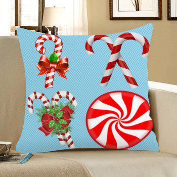 Christmas Candy Bar Pattern Linen Pillow Case - BLUE AND RED BLUE/RED
