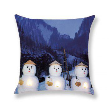 Snow Mountain and Snowmen Printed Square Pillow Case - COLORMIX W18 INCH * L18 INCH
