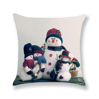 Snowmen Pattern Linen Pillow Case - COLORFUL W18 INCH * L18 INCH