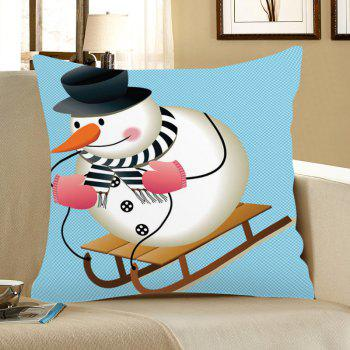 Skiing Snowman Pattern Square Pillow Case - COLORMIX COLORMIX