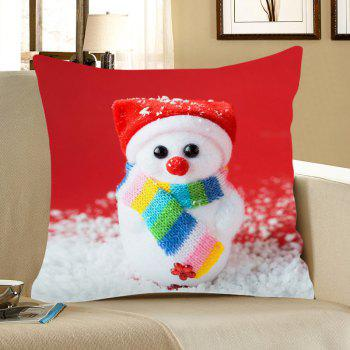 Cute Snowman Doll Pattern Linen Pillow Case - COLORFUL COLORFUL