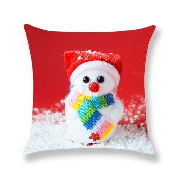 Cute Snowman Doll Pattern Linen Pillow Case - COLORFUL W18 INCH * L18 INCH