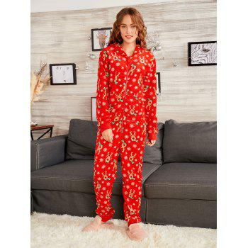 Rudolph Onesie Christmas Matching Family Pajama - RED DAD L