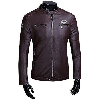 Zip Up Patch Faux Leather Flocking Jacket - PURPLISH RED PURPLISH RED