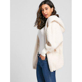 Dolman Sleeve Fuzzy Hooded Coat - OFF WHITE S