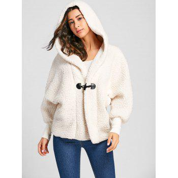 Dolman Sleeve Fuzzy Hooded Coat - OFF-WHITE OFF WHITE
