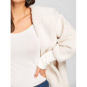 Dolman Sleeve Fuzzy Hooded Coat - OFF WHITE L