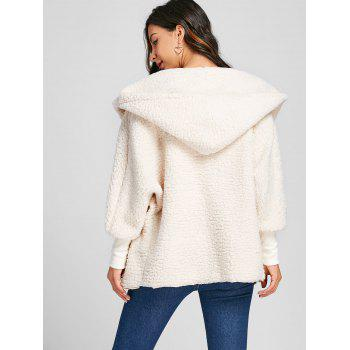 Dolman Sleeve Fuzzy Hooded Coat - OFF WHITE XL