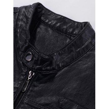 Casual Zipper Faux Leaather Flocking Jacket - BLACK BLACK