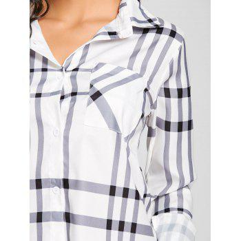 High Low Button Up Plaid Blouse - PLAID S