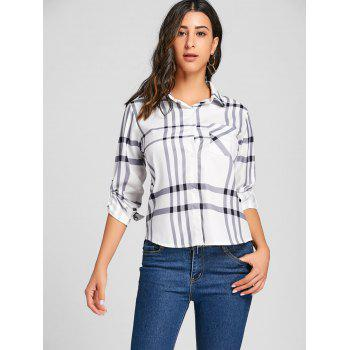 High Low Button Up Plaid Blouse - PLAID PLAID