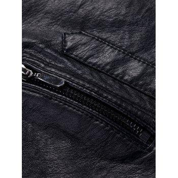 Casual Zipper Faux Leaather Flocking Jacket - BLACK 2XL