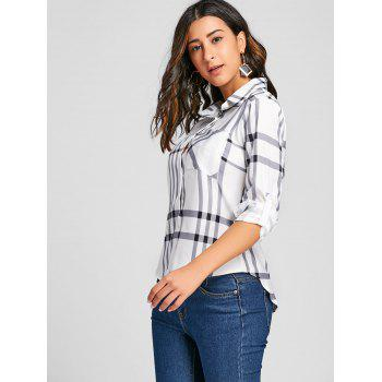 High Low Button Up Plaid Blouse - PLAID M