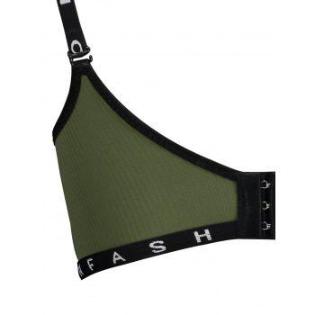 Letter Print Strap Seamless Padded Bra - ARMY GREEN 80A