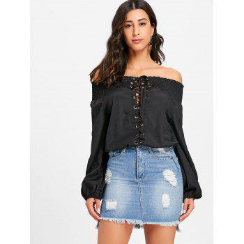 Off The Shoulder Lace Up Blouse - BLACK BLACK