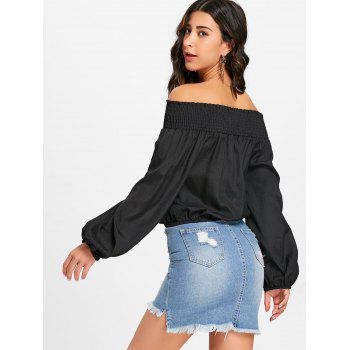 Au large de l'épaule Lace Up Blouse - Noir S