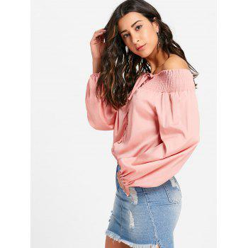 Off The Shoulder Lace Up Blouse - PINK XL