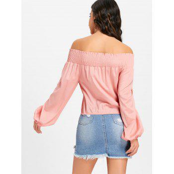 Off The Shoulder Lace Up Blouse - PINK PINK