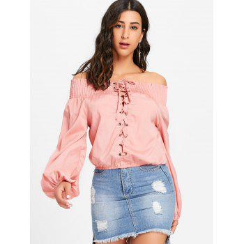 Off The Shoulder Lace Up Blouse - PINK M