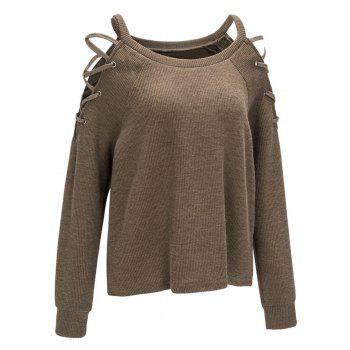Criss Cross Cold Shoulder Knitwear - COFFEE M