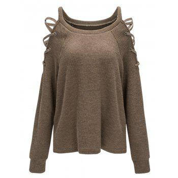 Criss Cross Cold Shoulder Knitwear - COFFEE COFFEE