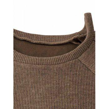 Criss Cross Cold Shoulder Knitwear - COFFEE 2XL