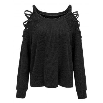 Criss Cross Cold Shoulder Knitwear - BLACK BLACK