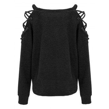 Criss Cross Cold Shoulder Knitwear - BLACK XL