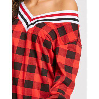 Long Sleeve V Neck Plaid Dress - RED S