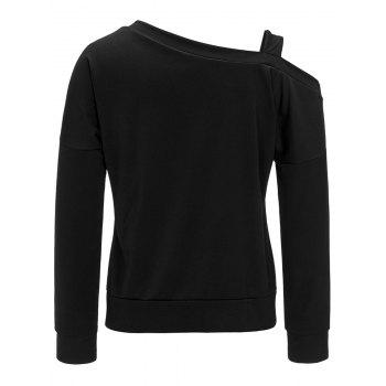 Dropped Shoulder Skew Neck Top - BLACK BLACK