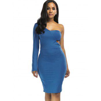 Cut Out Knee Length One Shoulder Club Dress - BLUE 2XL