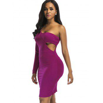 Cut Out Knee Length One Shoulder Club Dress - TUTTI FRUTTI TUTTI FRUTTI