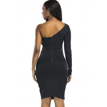 Cut Out Knee Length One Shoulder Club Dress - BLACK L