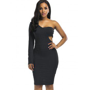 Cut Out Knee Length One Shoulder Club Dress - BLACK BLACK