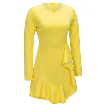 Ruffle Long Sleeve A-line Dress - YELLOW YELLOW