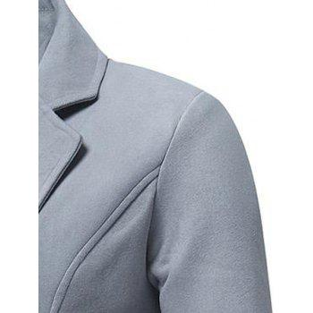 Trench-coat Long en Laine à Double Boutonnage - gris L